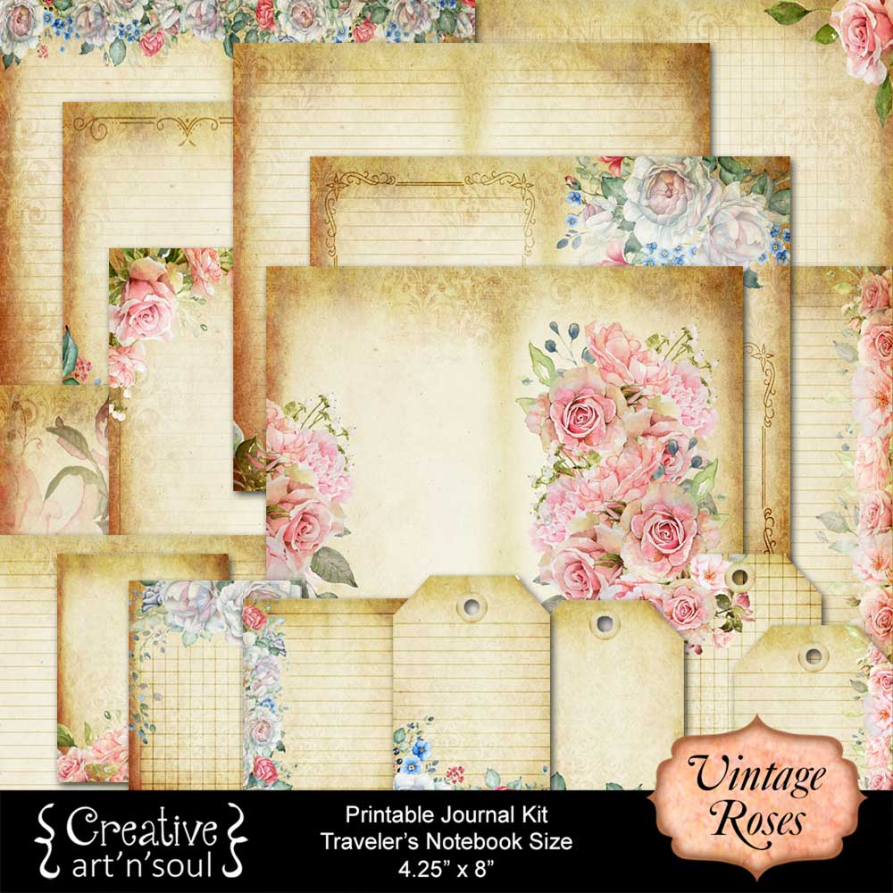 Vintage Roses Traveler's Notebook Printable Journal