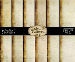 Faded & Tattered Set 1 Digital Paper Pack 8.5″ x 11″