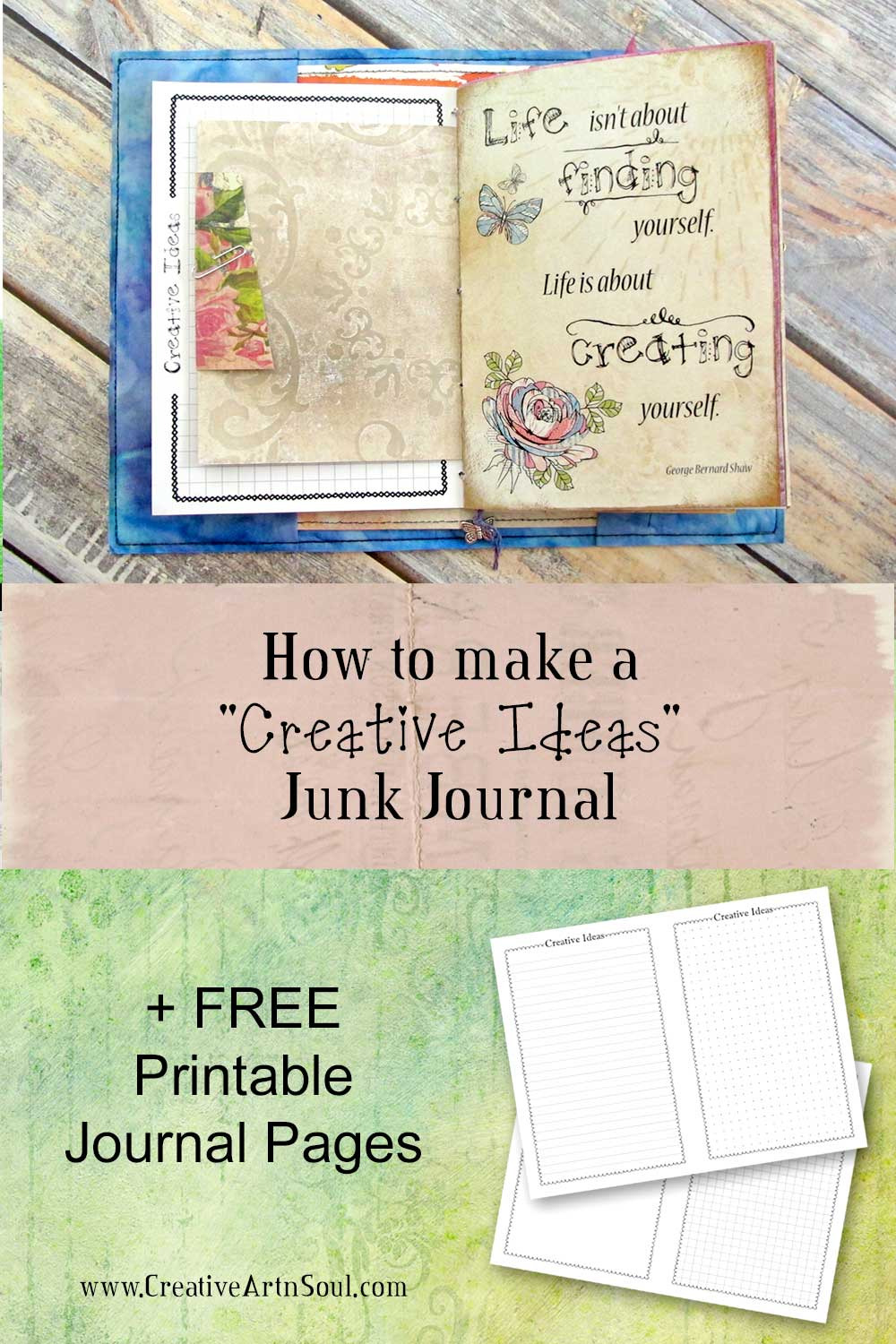 How to Make a Creative Ideas Junk Journal + Free Printable Pages