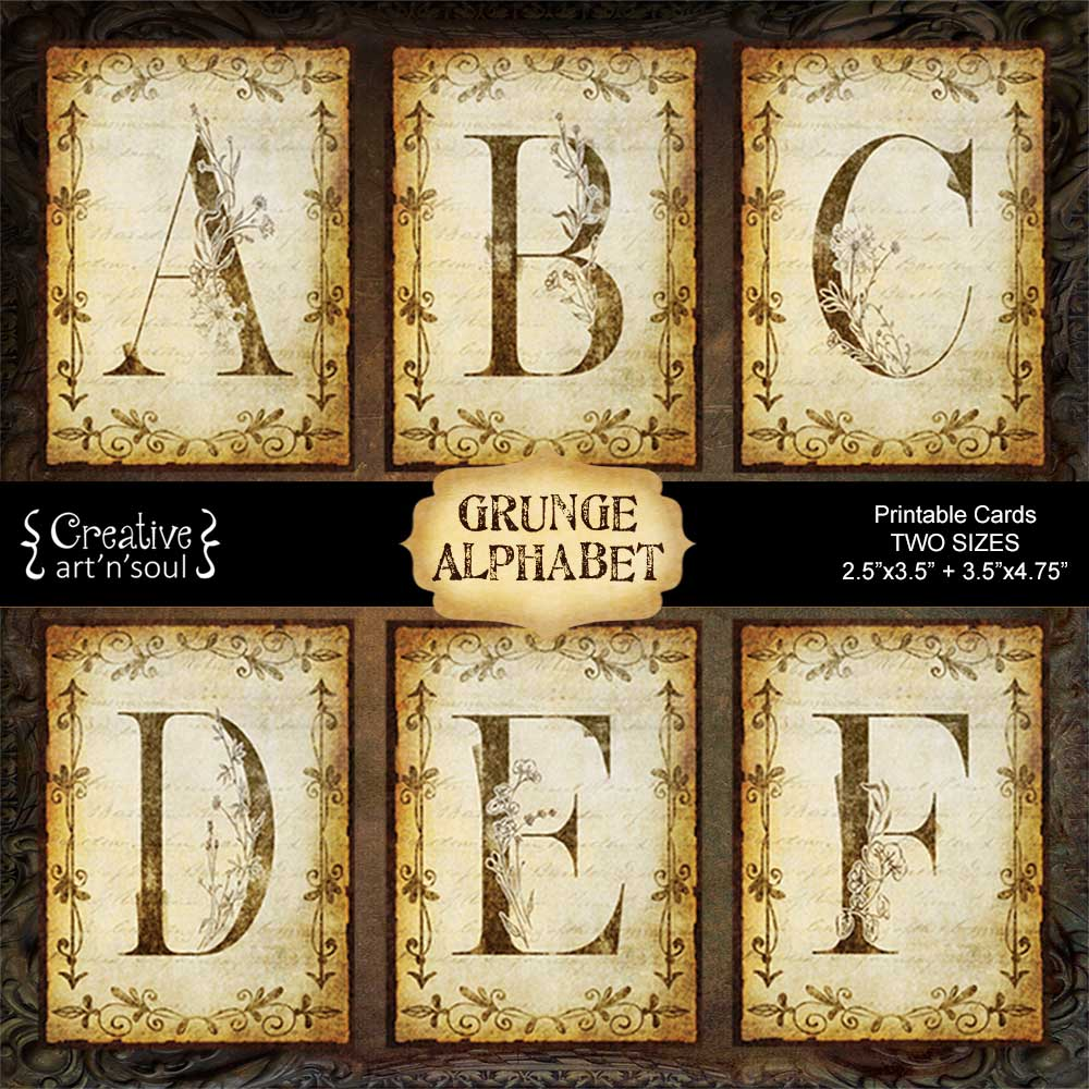Grunge Alphabet Printable Cards
