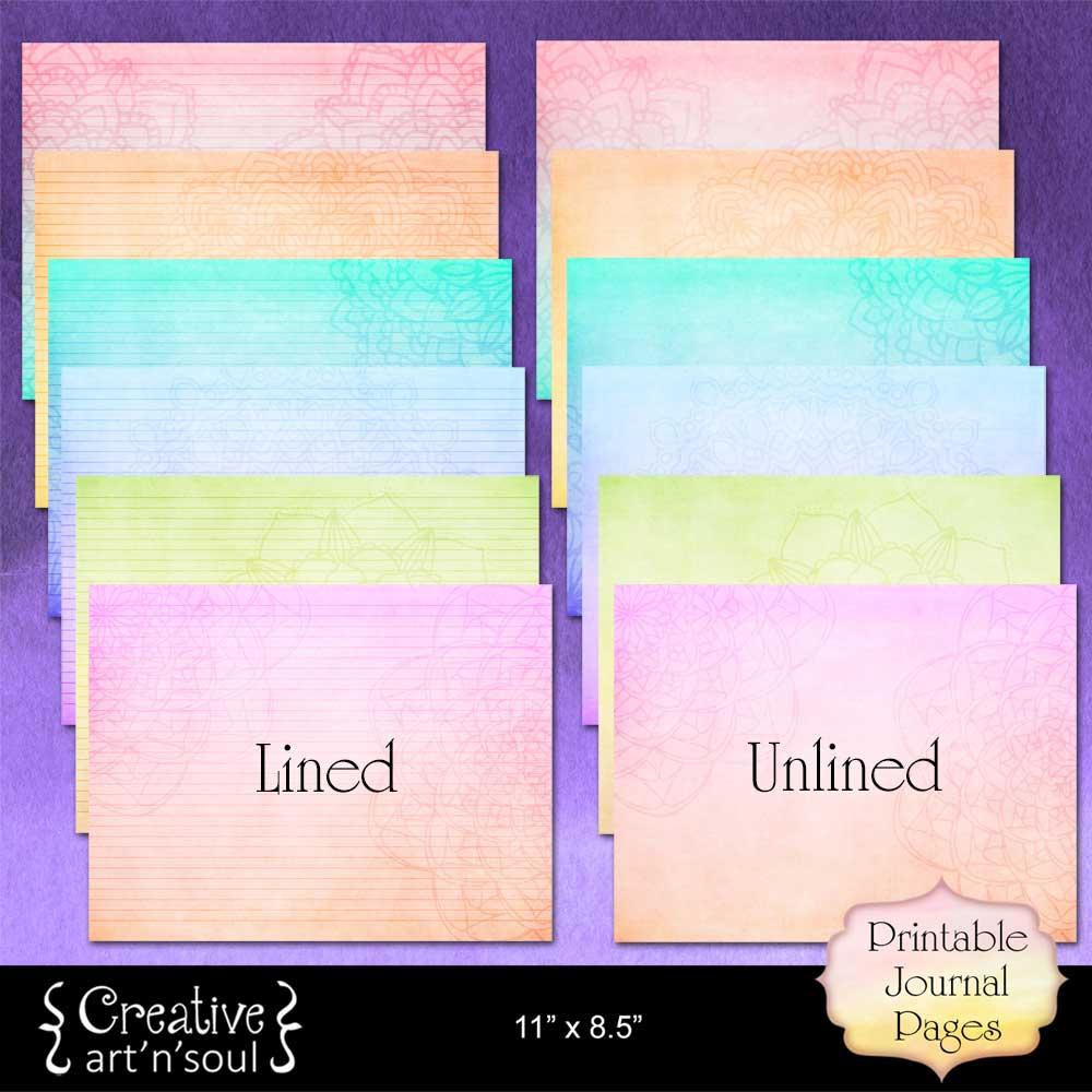 Mandala Rainbow Printable Writing Paper
