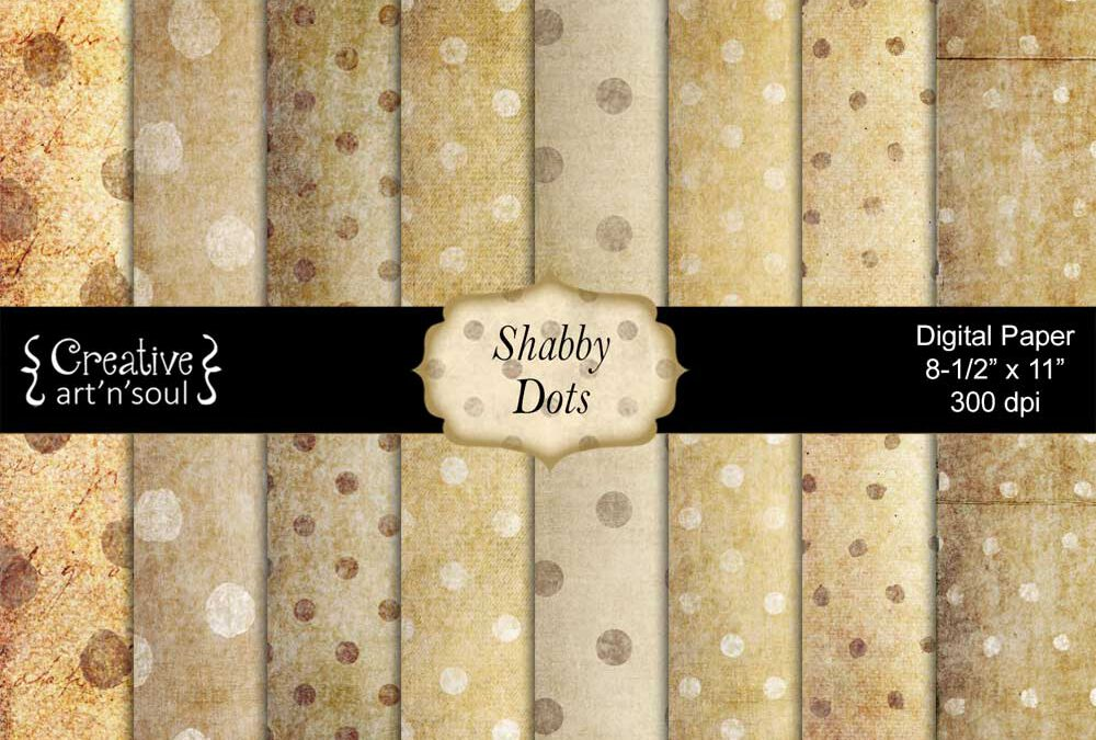 Shabby Dots Printable Paper Pack 8.5×11