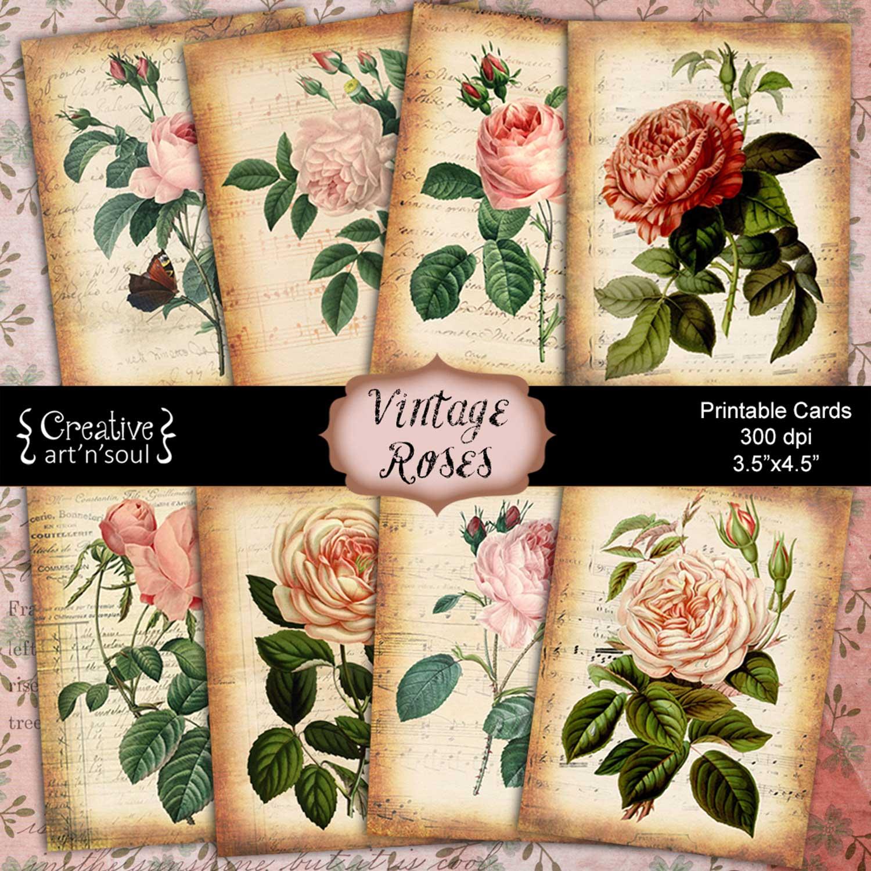 Vintage Rose Printable Cards