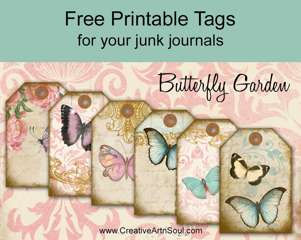 Free Junk Journal Printable Tags: Butterfly Garden