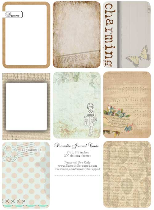 Free Printable Journal Cards for your Junk Journals
