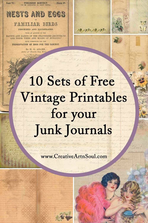 10 Free Sets of Vintage Printables for Your Junk Journals