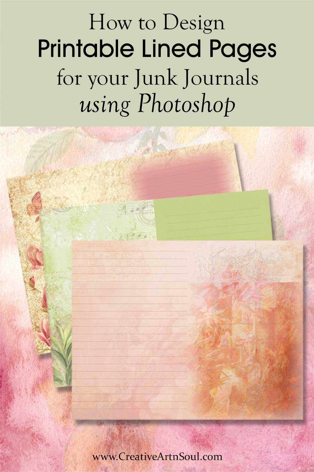 How to Design Printable Lined Journal Pages for your Junk Journals using Photoshop