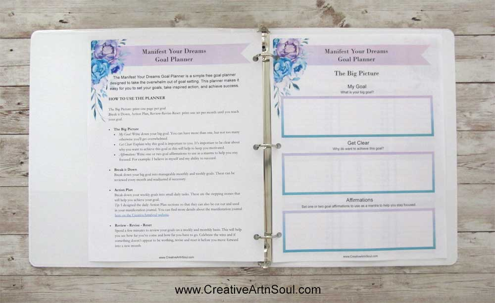 Goal Setting for your Manifestation Journal using this Free Printable Goal Setting Planner