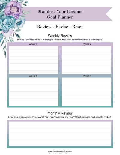 Goal Setting for your Creative Manifestation Journal + Free Printable Goal Setting Planner