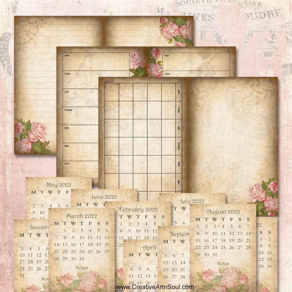 Vintage Rose Printable Planner Pages