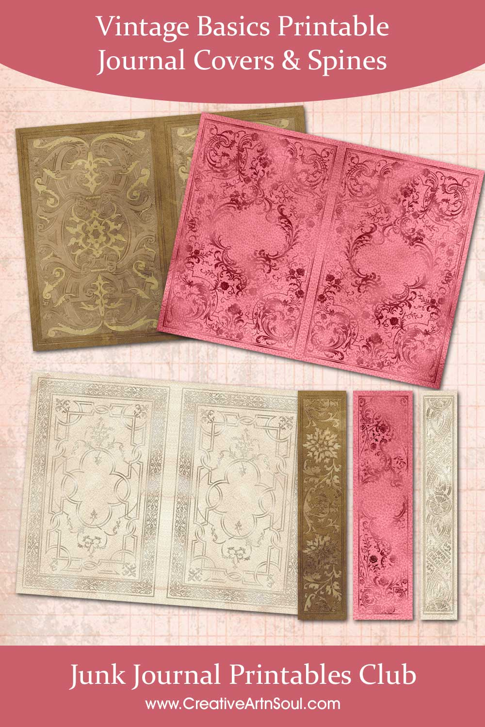 Vintage Basics Printable Journal Covers and Spines