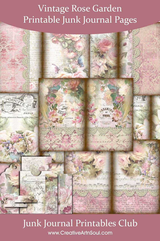 Vintage Rose Garden Printable Journal Pages