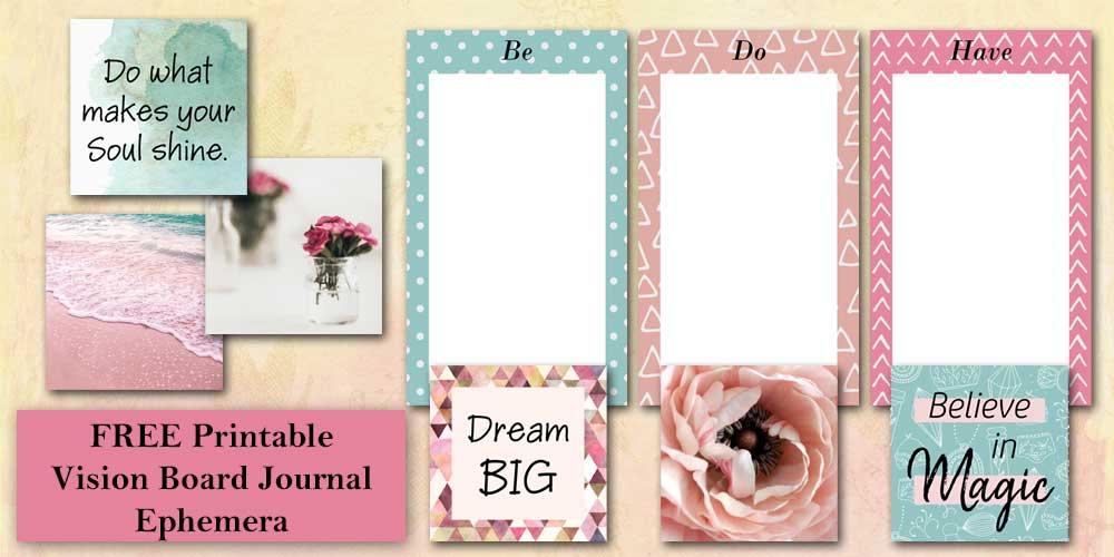 Printable Vision Board Journal Ephemeral