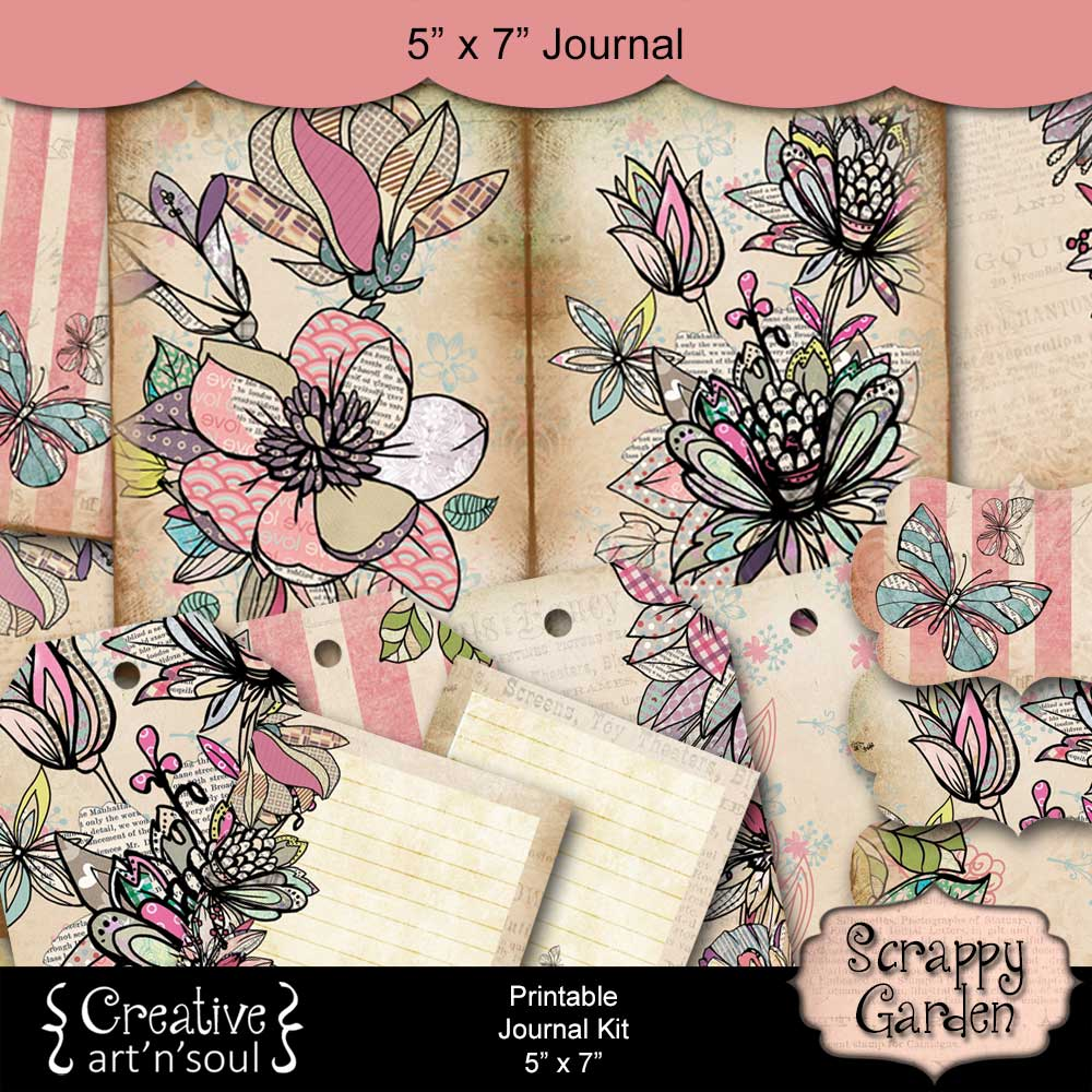 Scrappy Garden Printable Junk Journal and Free Printables