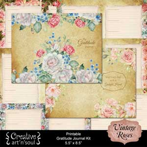 Vintage Roses Printable Gratitude Journal