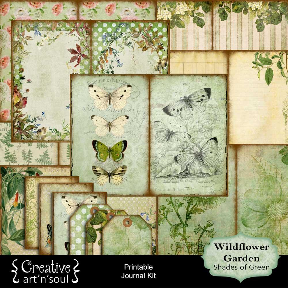 Wildflower Garden Shades of Green Printable Journal