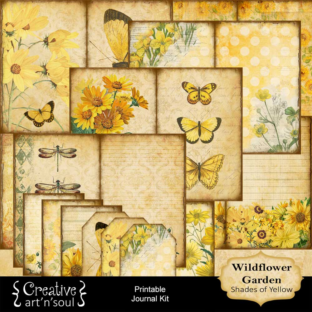 Wildflower Garden Shades of Yellow Printable Journal