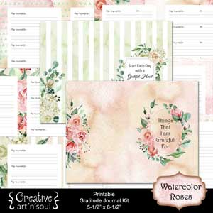 Watercolor Roses Printable Gratitude Journal